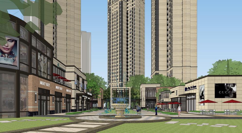 现代风格商业街SU模型