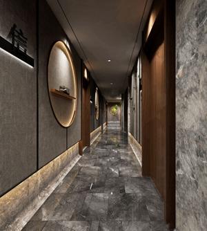 中式足疗店过道 中式美容SPA 过道 墙饰