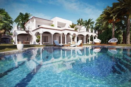 地中海别墅外观 地中海建筑 别墅外观 泳池 躺椅 单人沙发 户外沙发 植物 楼梯