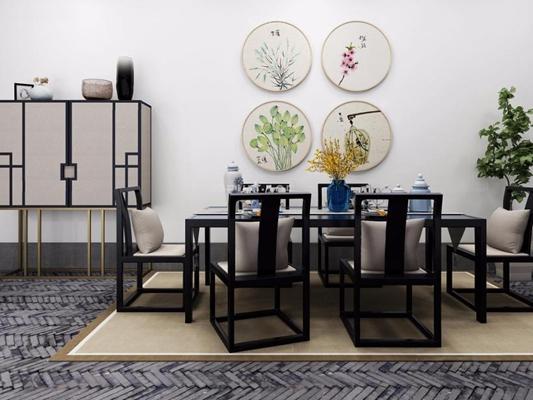新中式餐桌椅高柜组合 新中式餐桌 餐椅 高柜 装饰画 摆件