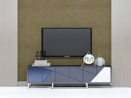 现代电视柜3D模型下载