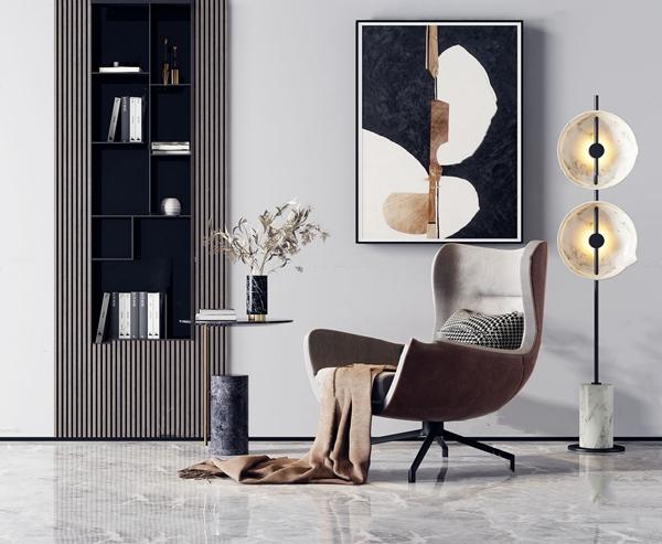 现代布艺休闲沙发椅3d模型