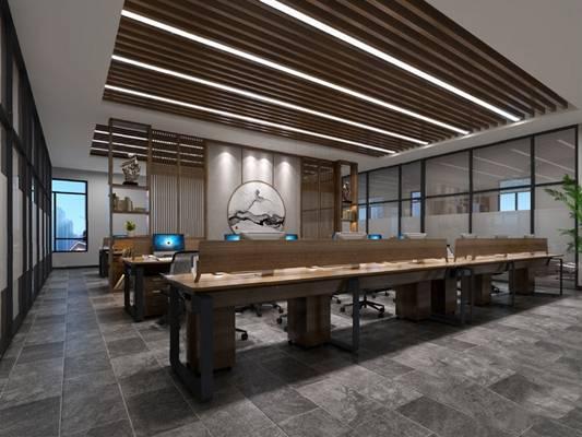 中式办公室3D模型