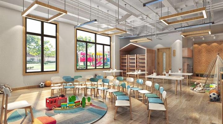 北歐幼兒園教室 北歐學校 教室 兒童桌椅 吊燈 書架 玩具 幼兒園教室