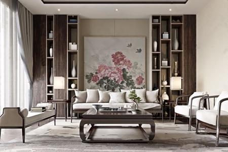 中式客厅 中式客厅 多人沙发 双人沙发 沙发凳 单人沙发 茶几 边几 展示柜 花瓶 抱枕 地毯 装饰画 摆件