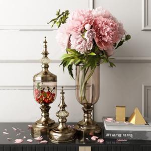 简欧玻璃金属花瓶摆件 简欧饰品摆件 花瓶 器皿