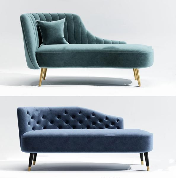 简欧布艺贵妃椅3d模型