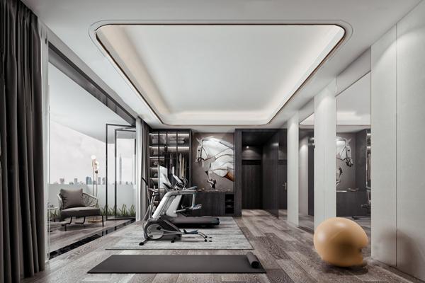 现代休闲阳台健身房3d模型