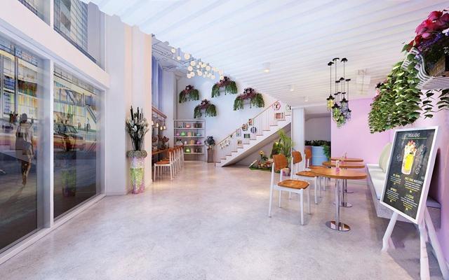 小清新甜品店 现代餐饮空间 甜品店 收银台 卡座 圆餐桌 椅子 绿植 吊灯