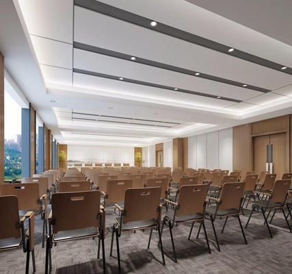 新中式会议室 新中式会议室 多功能会议室 折叠椅 演讲台