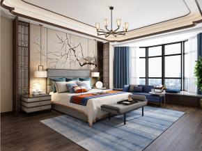 新中式卧室主人房3D模型