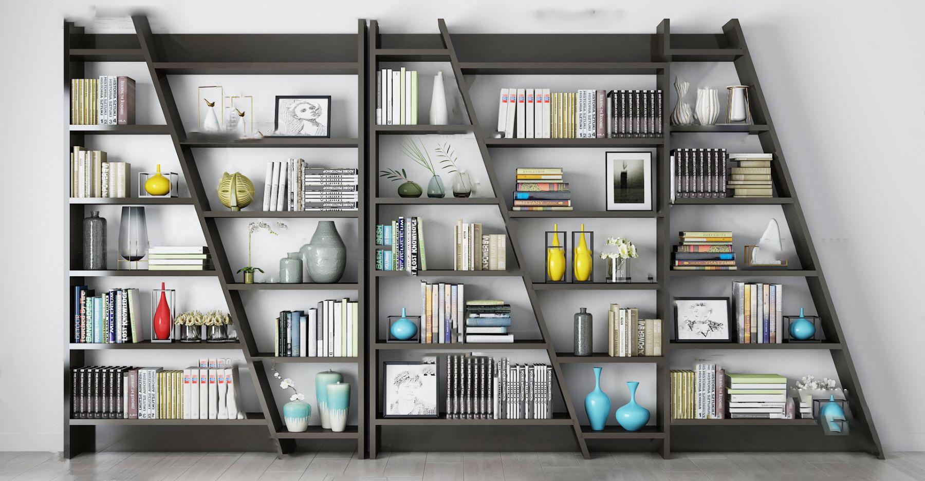 现代实木书架3d模型