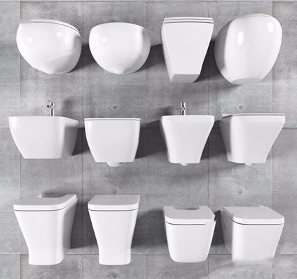 现代简约座便器马桶妇洁器组合 现代卫浴用品 马桶