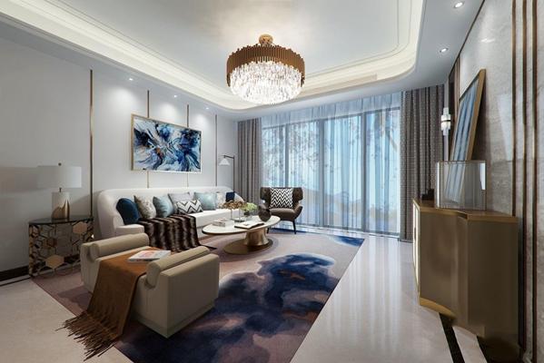 现代客厅多人沙发 现代客厅 椅子 茶几边几 边柜柜玄关柜 吊灯 台灯 休闲椅 挂画 摆件 地毯 布艺沙发