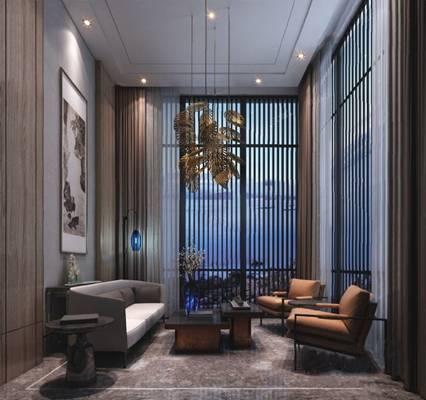 新中式接待室3D模型
