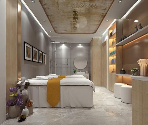 美容院SPA包间 美容院 SPA包间 按摩床 标间 洗手台