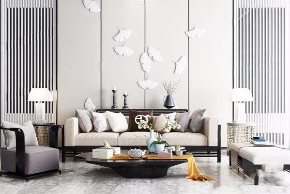 新中式沙发组合 新中式多人沙发 台 灯盆栽 植物 摆设 单人椅 硬包背景 茶几 边几 台灯