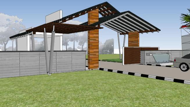 入口大门 活动房屋 室外 庭院 尖桩篱栅 帐篷