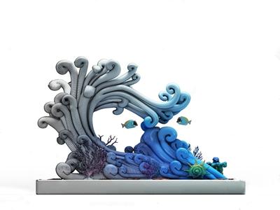 现代海浪雕塑 现代雕塑 海浪摆件 海浪装饰品