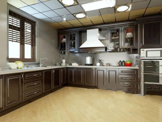 欧式厨房3D模型 橱柜