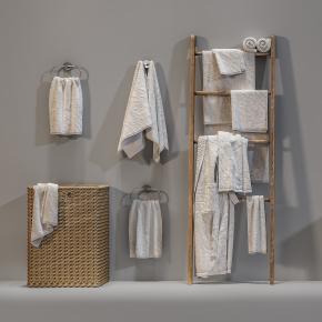 现代毛巾卫浴用品组合3D模型