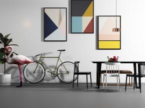 北欧餐桌椅山地车天鹅摆件装饰画3D模型