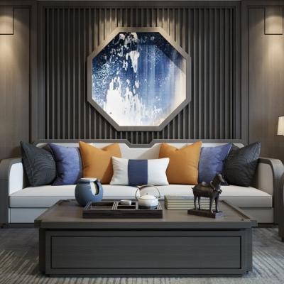 新中式沙发茶几背景墙组合3D模型