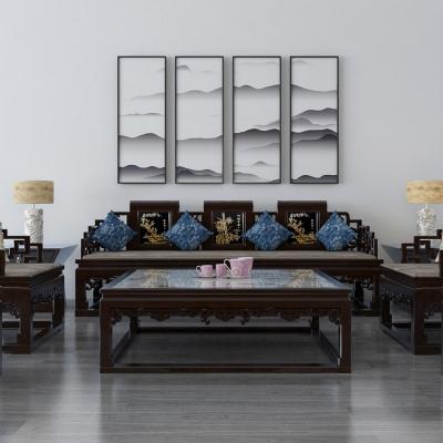 新中式沙发茶几摆件组合3D模型