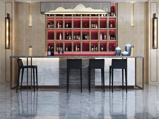 新中式吧台吧椅 新中式吧台 吧椅 吊灯 壁灯 器皿 壁柜