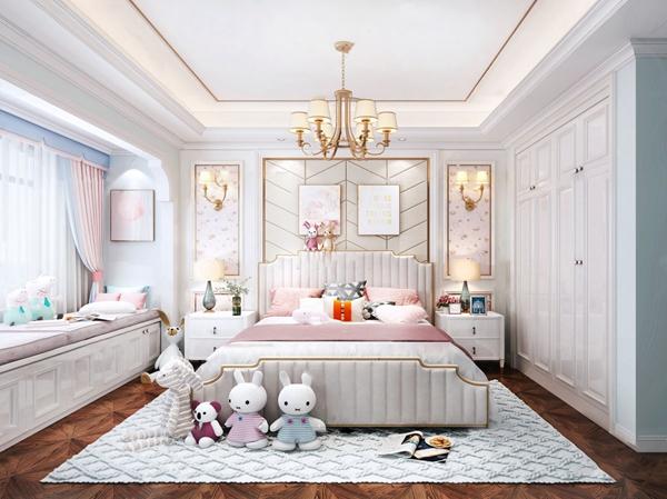 現代輕奢臥室女孩房3d模型
