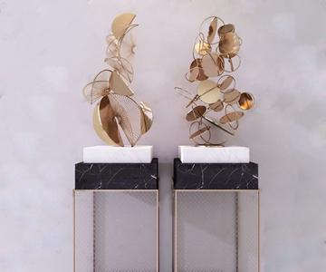 现代金属摆件 现代摆件 金属摆件 雕塑架