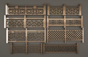 新中式栏杆护栏组合3D模型