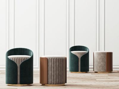 现代绒布凳子组合3d模型