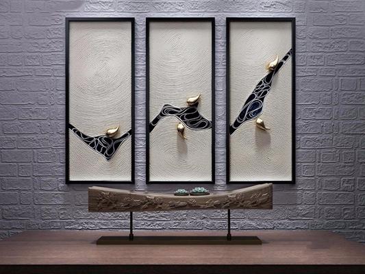 新中式挂画摆件 新中式挂画 立体挂画 摆件 装饰品