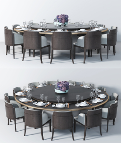 现代实木多人圆形餐桌椅餐具组合3D模型