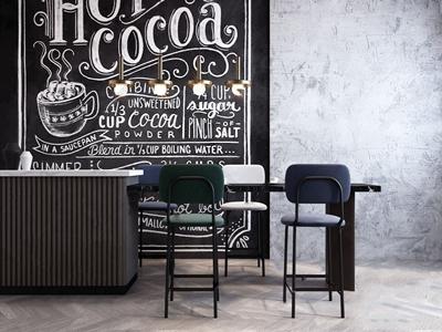 现代吧台椅组合 现代吧椅 吧台 黑板墙 金属吊灯