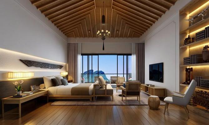 东南亚卧室 东南亚卧室 酒店客房 床具 双人床 床头柜 电视柜 吊灯 壁柜 椅子 摆件