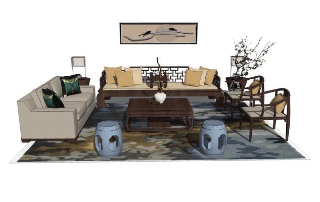 新中式沙发茶几组合SU模型