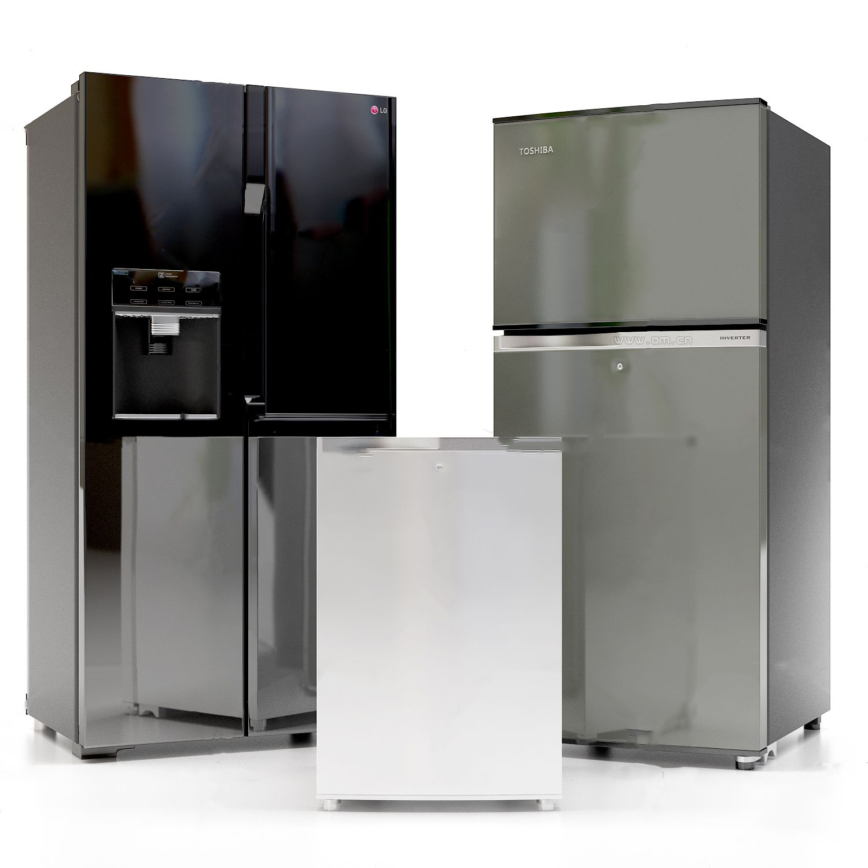 现代冰箱组合3d模型