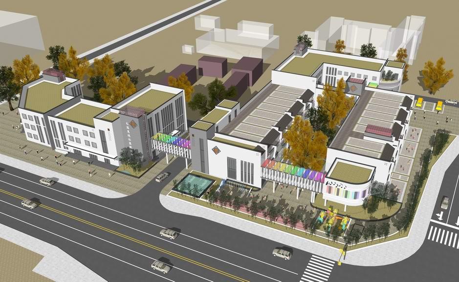 新中式幼儿园+新中式社区服务中心SU模型