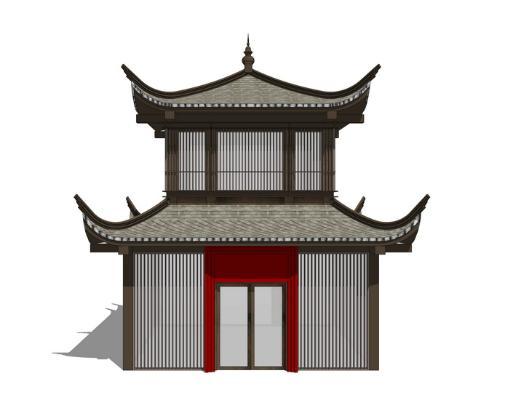 中式仿古阁楼SU模型