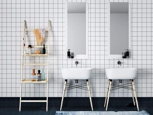 北欧洗手台组合 北欧洗手台 置物架 卫浴用品