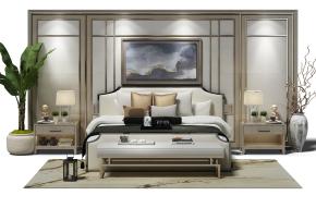中式布艺双人床床头背景墙床头柜台灯组合3D模型
