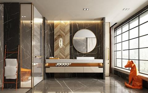 现代卫生间 现代卫浴 洗手台 镜子 动物 毛巾架 吊灯