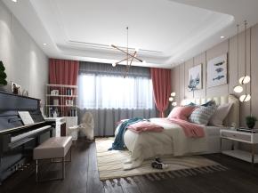现代卧室女儿房3D模型
