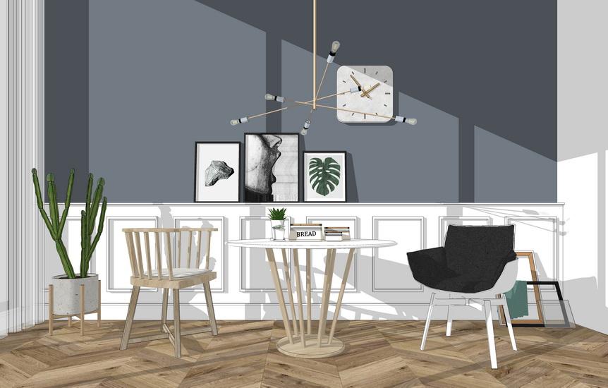 北欧风格桌椅组合SU模型