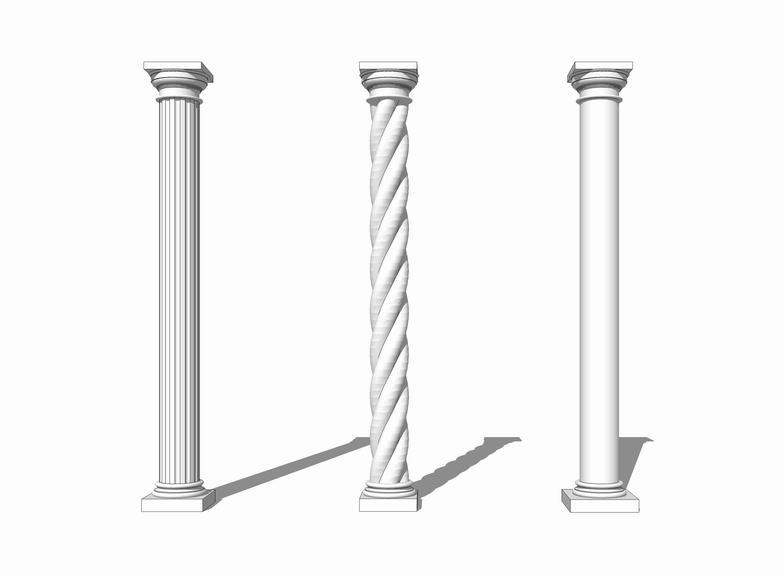 罗马柱SU模型