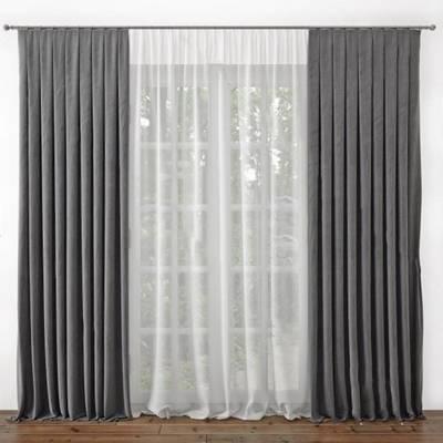 现代窗帘3D模型下载