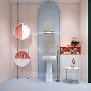 粉色北歐衛浴用品 北歐臺盆 邊幾 花瓶