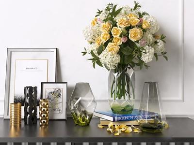 现代玻璃花瓶饰品 现代饰品摆件 玻璃花瓶 挂画